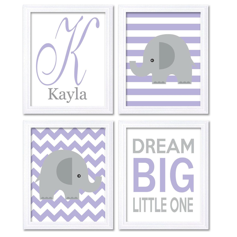 Purple Gray Grey Elephant Nursery Art Dream Big Little One Personalized Letter Set of 4 Prints Child