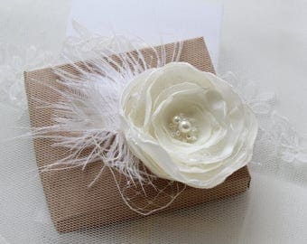 Bridal Headpiece -Wedding Hair Clip -Flower Hair Clip -Flower Hair Piece -Ivory Hair Clip -Feather Headpiece -Wedding Hair Accessory