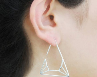Modern Hoops, Sterling Silver Drops, Triangle Earrings, Unusual Silver Earrings, Geometric Earrings, Silver Drops, Minimal Jewelry