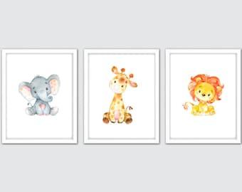Watercolor Jungle Nursery Prints, Baby Animal Prints, Safari Kids Decor, Animal Wall Art Set of 3, Kids Safari Wall Art, Baby Animal Artwork