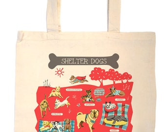 Shelter Dog Tote Bag-Dog Tote-Dog Bag-KC-Any Dog Tote-Red-Grey--Personalized-Custom