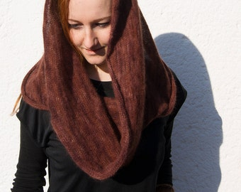 Knitted Angora Wrap Cowl Loop