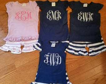 Monogrammed shorts outfit