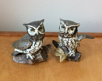 Two Wise Owl Figurines - from HOMCO Ceramic 1970's