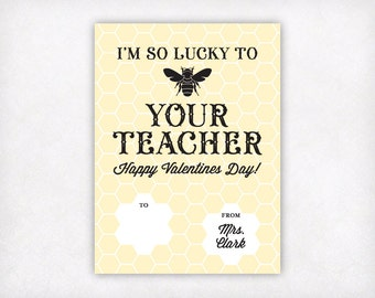 PRINTABLE Student Valentines Day Cards from Teacher, I'm So Lucky to Bee Your Teacher Valentine Card, Beehive Classroom Valentines for Kids