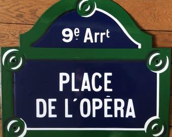 Authentic Paris street sign - Place de l'opera - 9th district