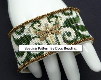 "Beading PATTERN. DIGITAL DOWNLOAD. Even Count Peyote Pattern. Small Peyote Bracelet Pattern. ""Dragonfly Dance"" Bracelet. DecoBeading ."