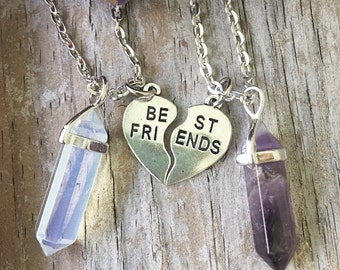 Best Friends Crystal Necklace/  Best Friends Heart with Crystals/ BFF Gemstone Necklaces/ Split Heart Pendant Necklace/ Heart Best Friends
