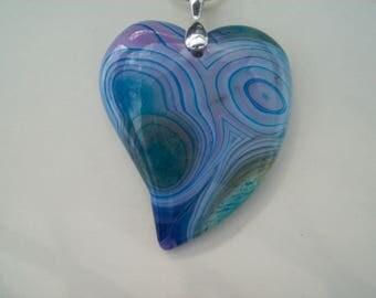 "Multicolor Heart Agate Pendant 2"" long"