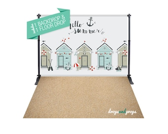 Beach Huts & Sand – Photography Backdrop Combo