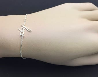 All Sterling Silver hope Bracelet, Celebrity inspired bracelet, trendy bracelet, moden bracelet