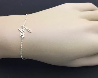 All Sterling Silver hope Bracelet, Celebrity inspired bracelet, trendy bracelet, moden bracelet