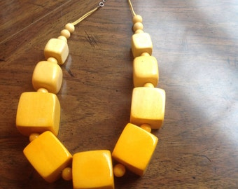 Chunky Yellow Wood Necklace - Big Bold