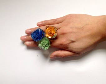 Handmade vintage style resin engraved ring - more colours available
