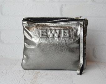 Medium Metallic Gunmetal Leather Clutch, Leather Pouch, Leather Monogram, Leather carryall, custom handmade to order with Initials, pewter