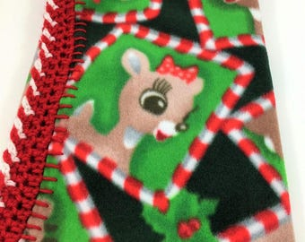 Rudolph and Clarice 20x20 or 18x18 Crochet Edge Fleece Baby Doll Blanket