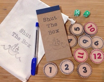 Shut The Box - Wooden Dice Counting Game