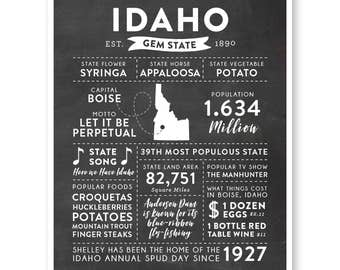 State Print, Idaho State, Idaho Map, State Art, State Poster, State Infographic, Gift For Brother, State Facts, Idaho Art Print