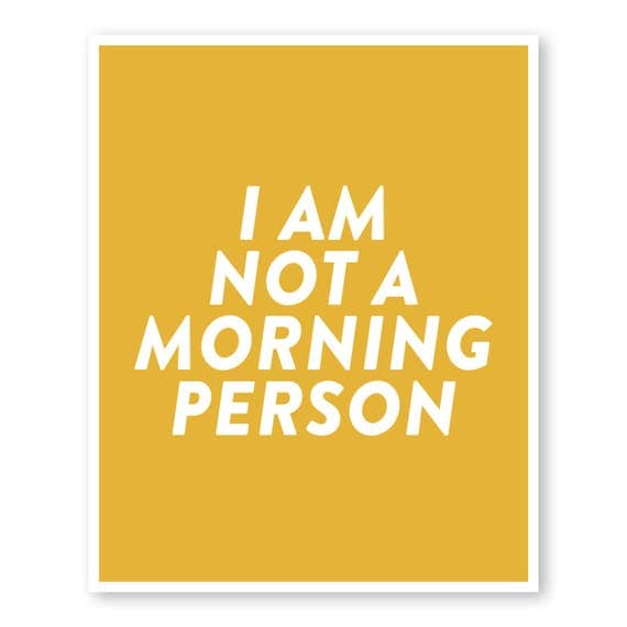 Not A Morning Person Bedroom Wall Art Funny Quote Office