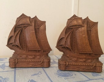 Vintage Syroco or Durwood Sailing Ship Bookends