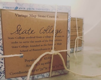 State College PA Vintage Map Stone Coaster Set - PSU Happy Valley