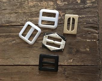 Belt Buckles, Plastic, Black, White, Tan, Vintage, Retro