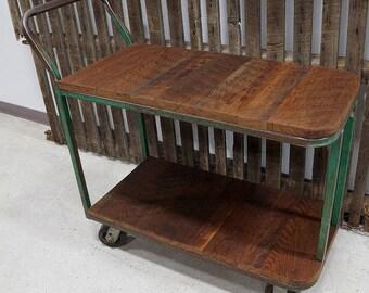 Vintage Industrial Green Modern Cart Island
