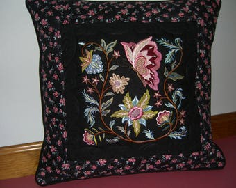 Jacobean Butterfly Embroidered and quilted pillow