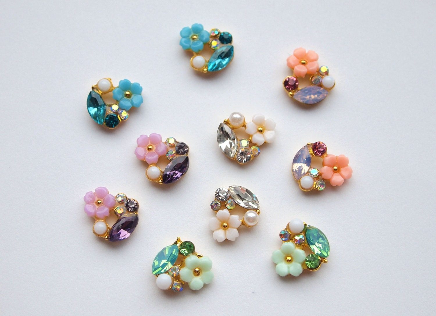 set of 10 floral nail charms 2pcs each style 3d nails