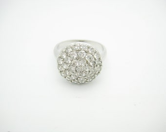 Sterling Silver CZ Round Dome Ring Size 9