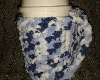 Frosty Waters Fleecy Cup Cozy, Handmade, Crochet