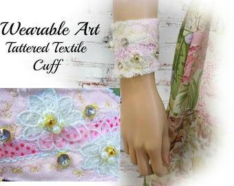 Fabric bracelet - Boho cuff - fabric cuff - trendy jewelry -Tattered textile cuff - Textile bracelet -fiber art cuff - # 234