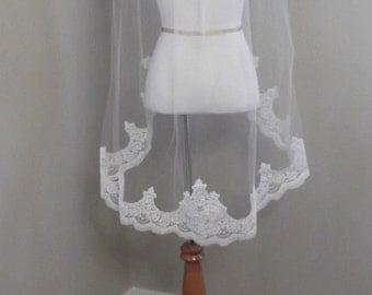 Regal Alencon Lace Edge Fingertip Wedding Veil