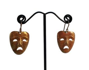 Tragedy Face, Tragedy Mask, Scary Face, Sad Face, Unhappy Face, Brass Earrings, Mask Earrings, Face Earrings, Actors Symbol, Drop Earrings