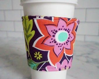 Reusable Coffee Sleeve-Purple Floral Print
