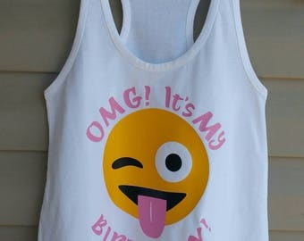 Girls Emoji Birthday Shirt / Birthday Emoji Shirt / Winking Emoji Tank Top