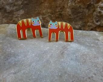 Laurel Burch Small Red Cat Vintage  Enamel Post Earrings for Pierced Ears