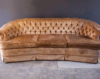 Vintage Gold Velvet Tufted Couch Sofa**RESERVED for ladystilts***