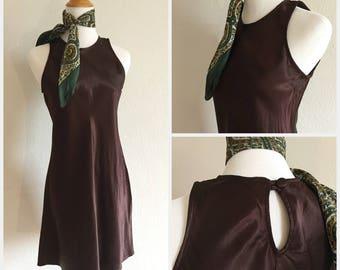 90s Chocolate Wine Satin Dress Flowy Vintage Mini Dress