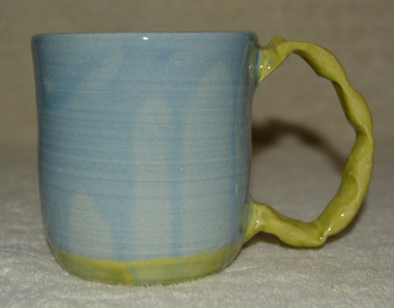 Mug, Coffee Mug, Tea Mug, Cocoa Mug, Large Handle, Blue, Lime Green, Ceramic, Stoneware Mug,