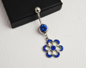 Blue Dangle Belly Ring, Blue Belly Button Ring, Navel Piercing Barbell, 14G Surgical Steel Blue Belly Ring Dangle Navel Ring Jewelry
