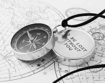 Custom Working Compass, Custom Compass, Personalized Compass, Travel Necklace, Vintage Compass, Engraved Compass, Personalized Necklace