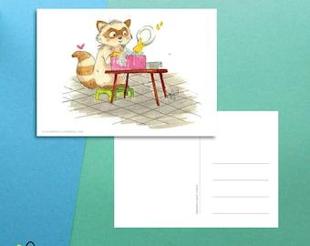 Washing Dishes Raccoon | Postcard (A6)