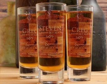Personalized Groomsmen Gifts, Set of 10, Personalized Shot Glasses