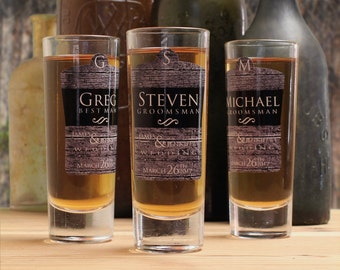 Custom Shot Glasses, Set of 8, Personalized Groomsmen Gifts