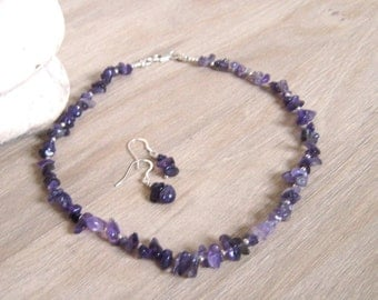 Gemstone necklace and earrings set Real silver chain Amethyst gemstone necklace & earrings Gemstone  jewellery set Boxed jewellery gift set