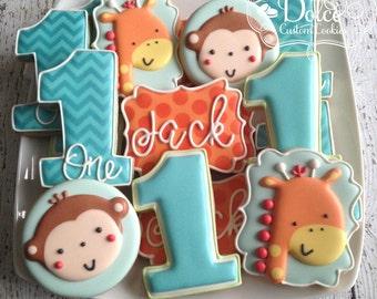 Fun to be One Monkey Giraffe Jungle Animal First Birthday Cookies
