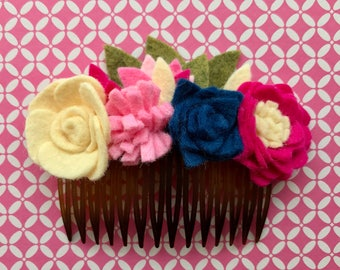 Felt Flower hair accessory,hair comb,barrette,wedding,baby hair clip,flower girl,photo prop