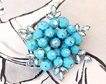 Snowflake Brooch, Blue Bead and Rhinestone Brooch, Vintage Costume Jewellery, Aurora Borealis, Vintage Statement Pin Brooch, Vintage Wedding