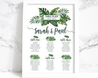 Wedding Table Plan - Printed Tropical Palm Leaf Design (Unframed)